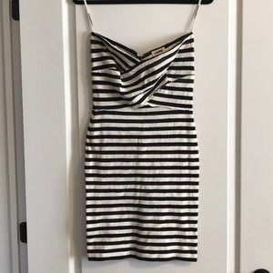 L'Agence Striped Strapless Fitted Dress - Sz M
